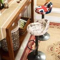 Retro Minimalist Chair Lift Iron American European Style Wooden Foot High Backrest Rotary Leisure Bar Stool