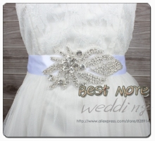 Hot Selling Rhinestones Applique Evening Dress Belt Bridal Sash for Wedding and Party Handmade with 400cm Lenght  Ribbon