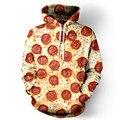 2016 nuevas mujeres / hombres chaqueta harajuku impresión divertida de Pizza alimentos ropa sudadera invierno Unisex gráficos 3d sudaderas con capucha ropa