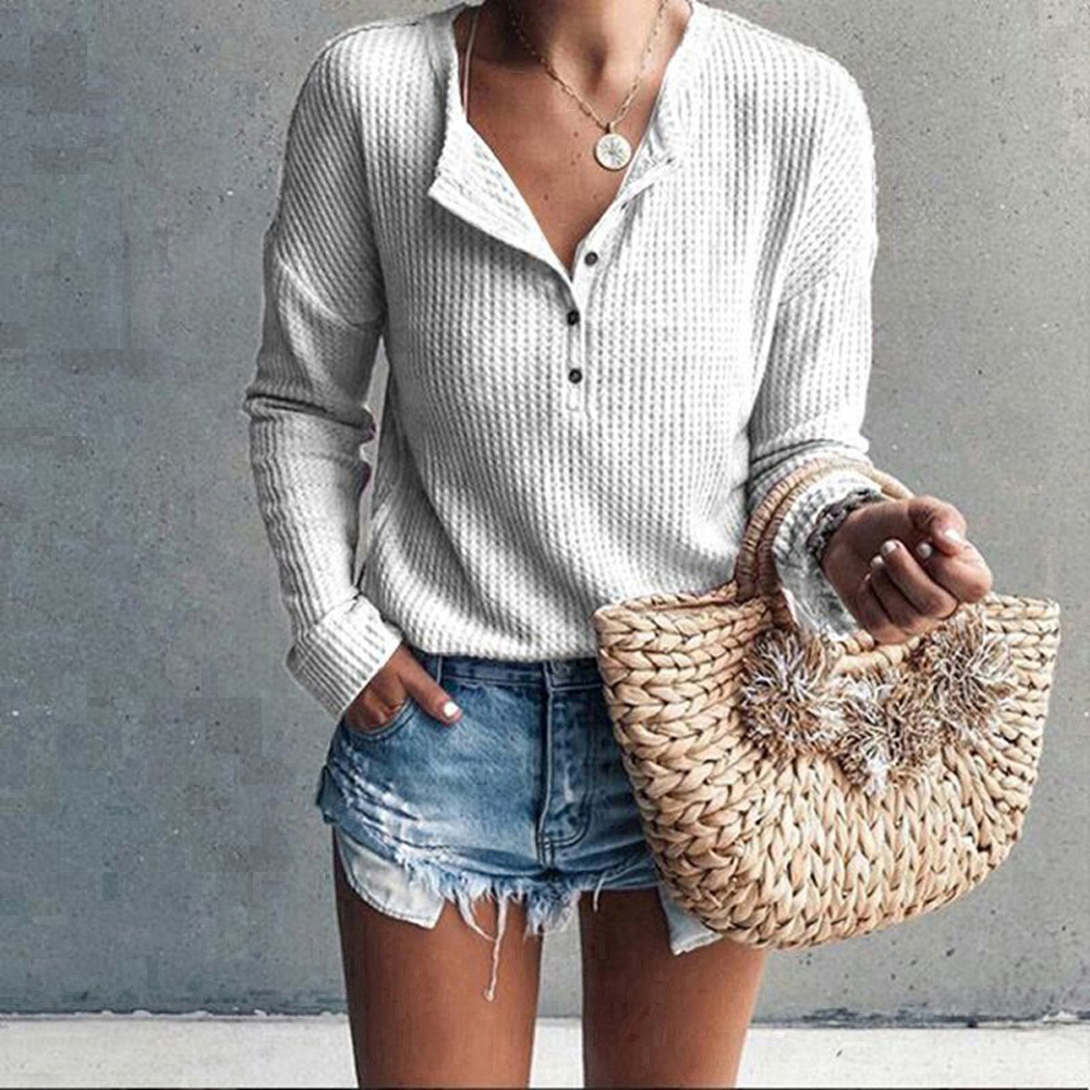 2019 Spring Summer Basic Shirts Long Sleeve Buttons V-Neck Women Blouse Knitted Tops Plus Size Knitwear Casual Solid Streetwear