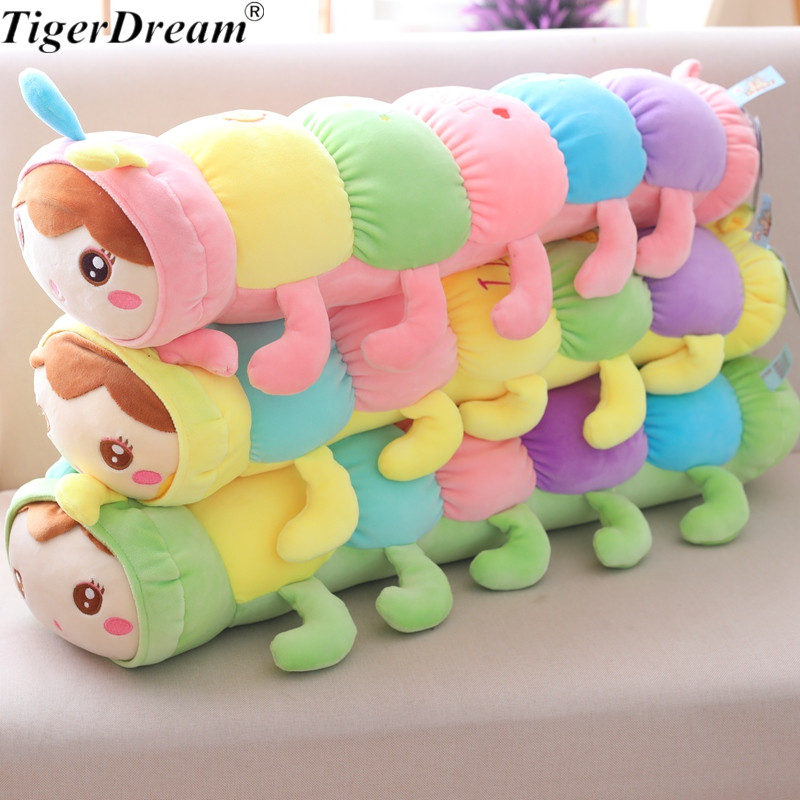 70cm One Piece Soft Cotton Colorful Caterpillar Plush Toy Cute Doll Stuffed Toys Animal Cushions Sleeping Long Pillow