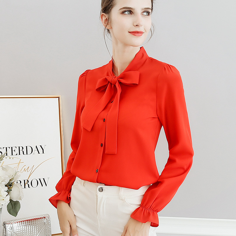 2018 Summer New Women Casual Button Long Sleeve Fashion Bow Shirt Women's Clothing