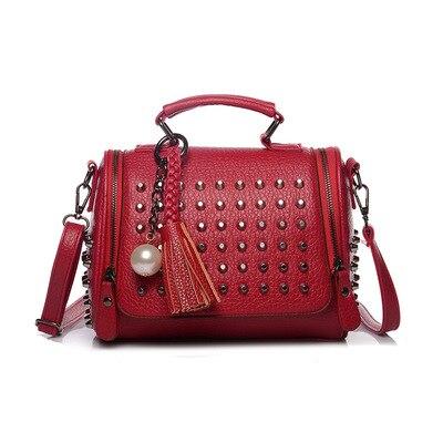 Mode Cuir Emballages Pour Main En Gland Chaîne red Bandoulière Perle Femmes 2019 Sliver golden De Petits black Sacs À Rivet Sac Luxe 4vZBwq
