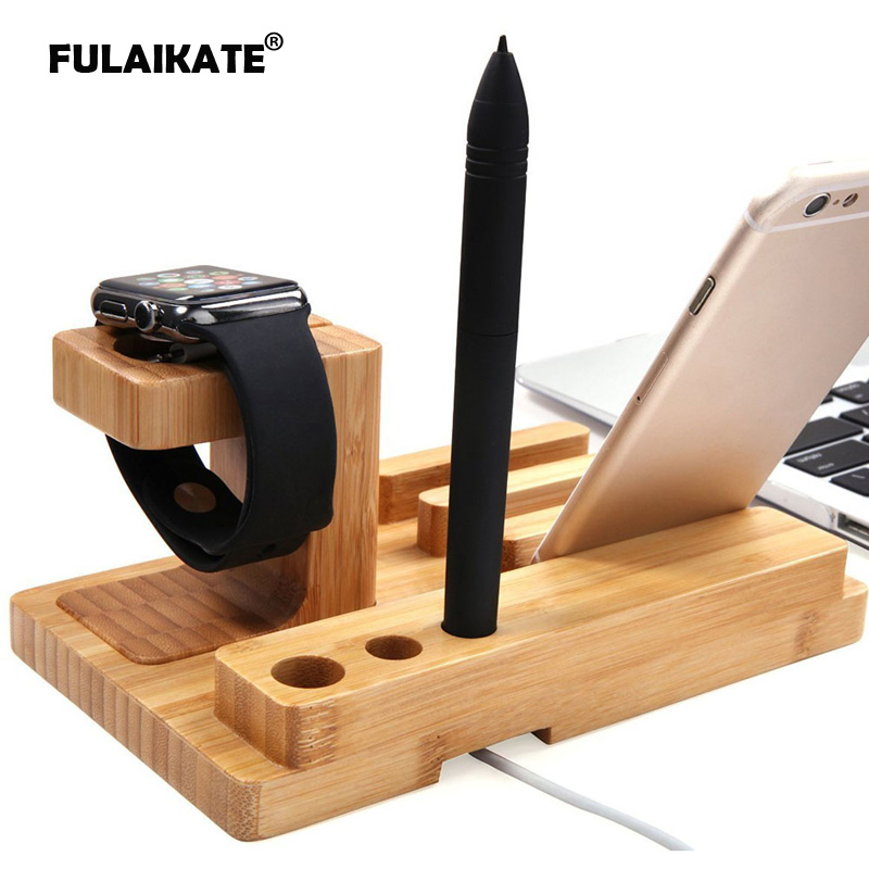 FULAIKATE Bamboo Wood Stand for iPhone 7 Plus Desk Holder Apple Watch All Tablet PC Mobile Phone Docking Station Bracket