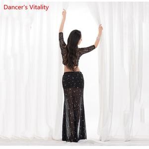 Image 4 - Venta al por mayor de chaleco Sexy de diseño de verano traje de danza del vientre 2 piezas elegante Oriental Falda larga suelta ropa de entrenamiento de danza