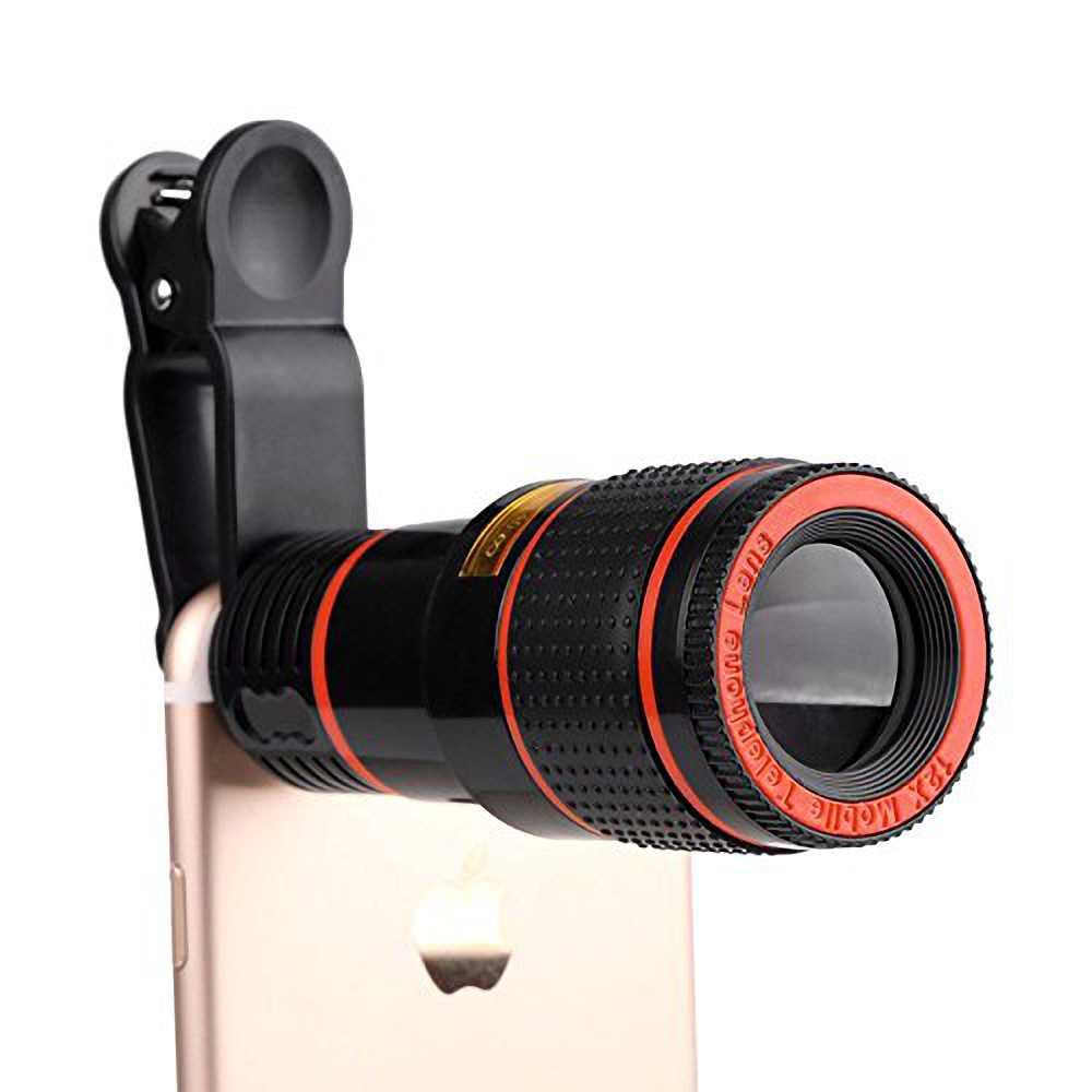 Universal Phone Telescope Telephoto Camera Lens Kit 12X Zoom Manual Focus Clip-on Camera Lens for iPhone 7 8 plus Samsung S8