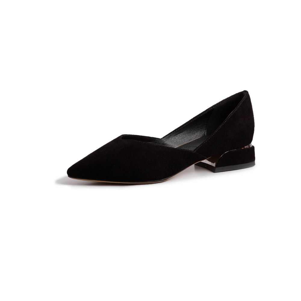 Lenkisen ofis bayan alçak topuklu sivri burun çocuk süet kayma sığ kadın pompaları zarif Bahar artı boyutu clubwear ayakkabı l9f7
