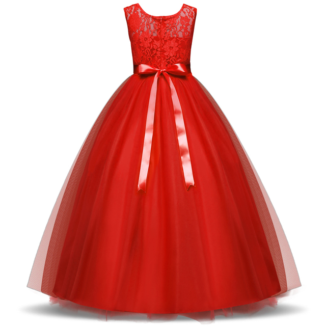 Kids Flower Girl Dress Long Tulle Evening Wedding Gown Party Formal Wear  Children Princess Lace Girl Dress for Teenager 10 12 14 765860b1768a