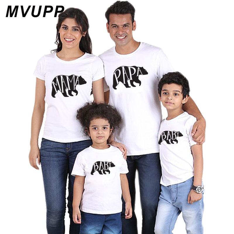Mother daughter Mommy and me mum family matching outfits Daddy son fathers day kids clothes boys baby Bear Design cotton t shirt