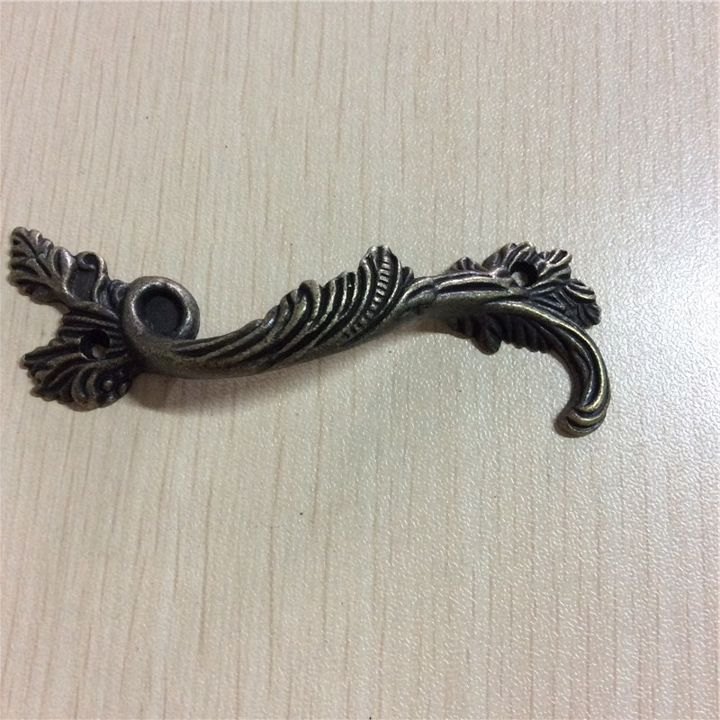 Leaves Striped Carved Kitchen Cabinet Drawer Door Knobs Handle Bronze Tone 8.9x3cm,5Pcs european modern bronze doors handle chinese antique glass door handle door handle carving