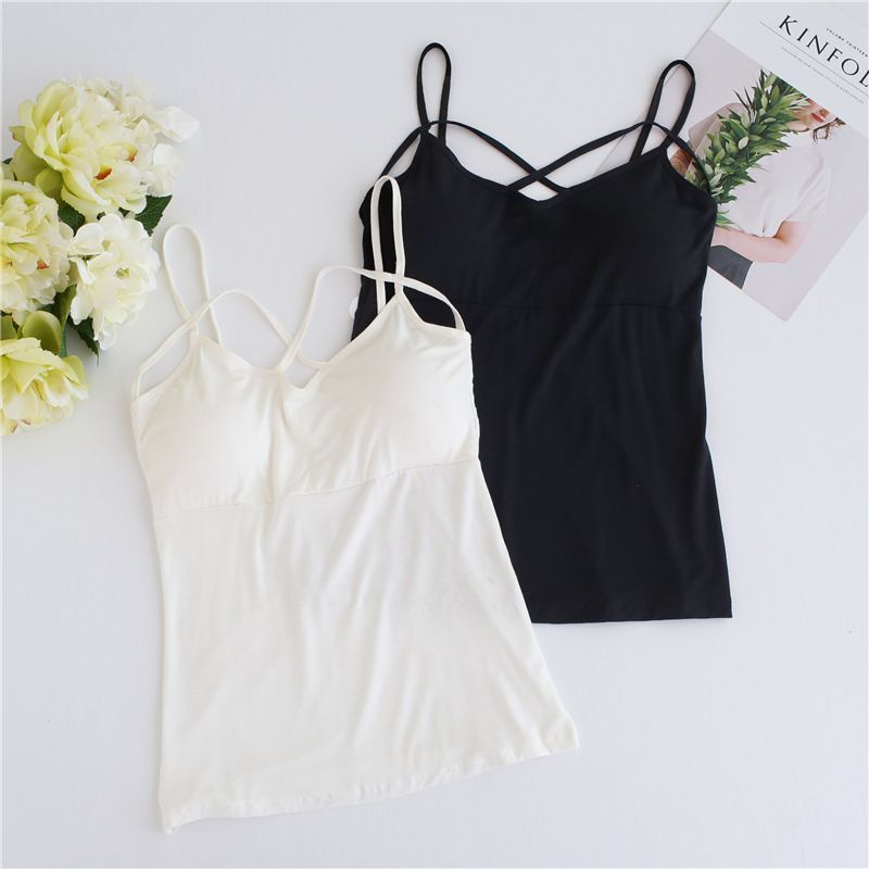 Sexy Crop   Top   Women Pad Bra Bustier Bralette   Top   2019 Solid Padded Camisole Female Ladies   Tank     Tops   Femme White Black T6