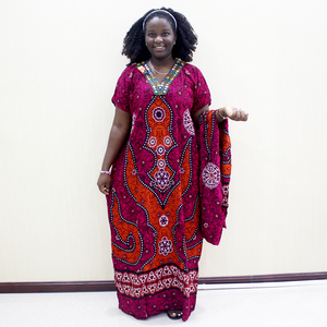 Image 1 - 伝統的なプリントスパンコール半袖ロングドレスアフリカ Dashiki カジュアルの服