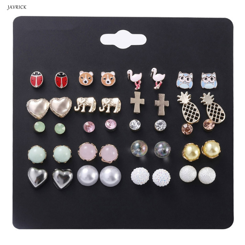 Jewelry & Accessories Javrick 6 Pairs Beauty Mermaid Scale Heart Shape Crystals Assorted Stud Earrings Set