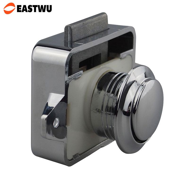 10pcs 1 Lot Large Keyless Chrome Push Latch Button Lock