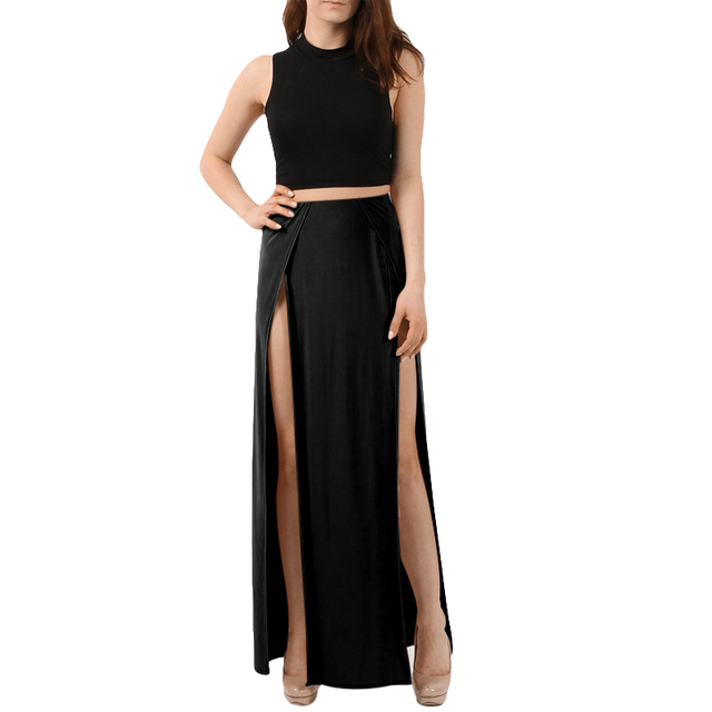 1497e01a38347 US $10.15 35% OFF|2018Fashion Double Split Slit Skirt Women High  Elasticated Wasit Long Skirts Womens Beach Style Straight Solid Jupe Femme  -in Skirts ...