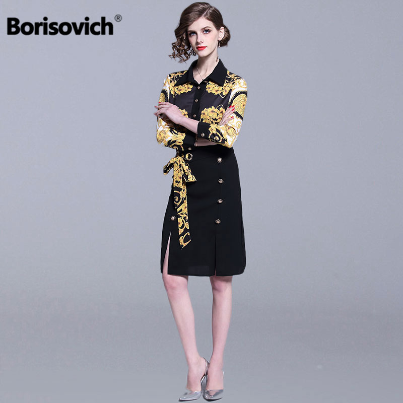 Borisovich Office Lady Elegant Print Pencil Dress New Brand 2019 Spring Fashion Patchwork Knee length Women