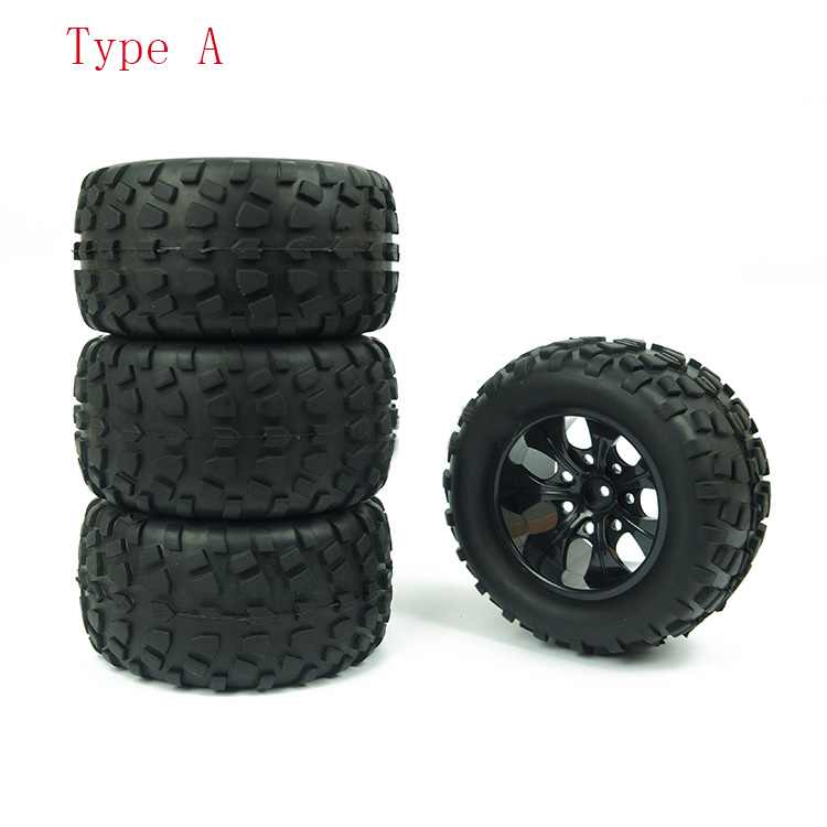Image 2 - 4PCS HSP Truck Wheel Tires D128mm Rubber Tire 128*65mm Wheels in 12mm Hex Adapter for 1/10 94111 94188 Off road RC Cars-in Parts & Accessories from Toys & Hobbies