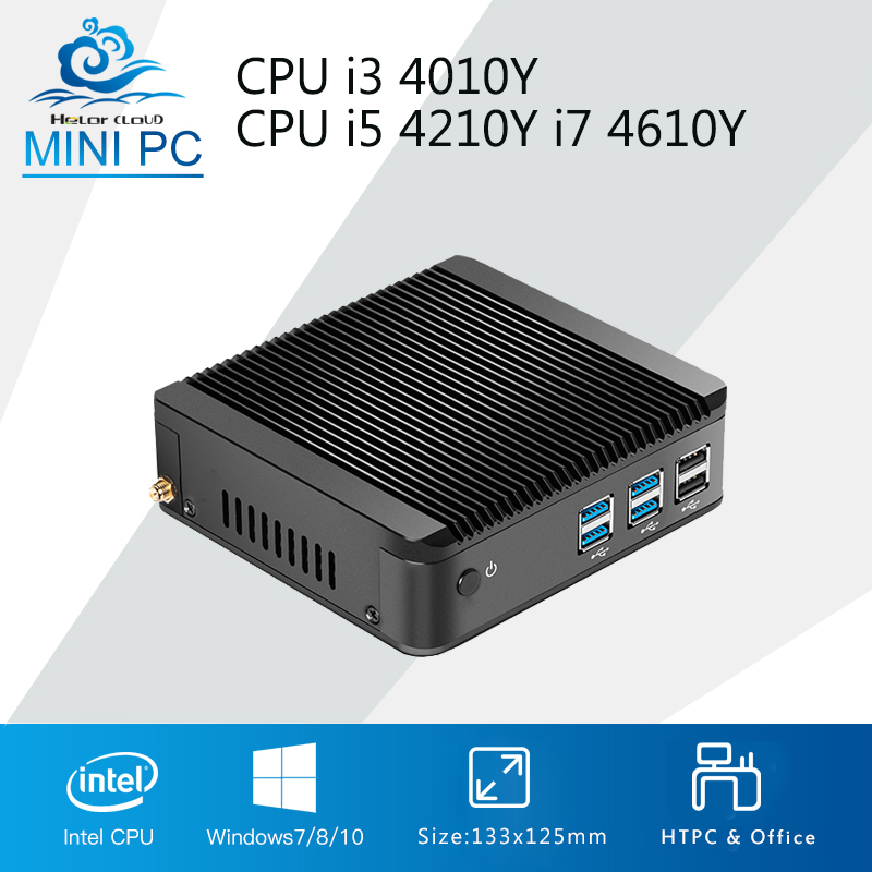 Mini Computer Mini PC Windows 10 CPU Intel Core i7 4610Y i5 4210Y i3 4010Y DDR3 RAM Office Computer Gaming PC HDMI VGA Windows 7
