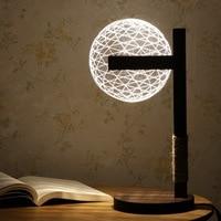 Новый светодио дный Креативный светодиодный настольный светильник для спальни акриловый 3D светодиодный светодио дный современный минимал