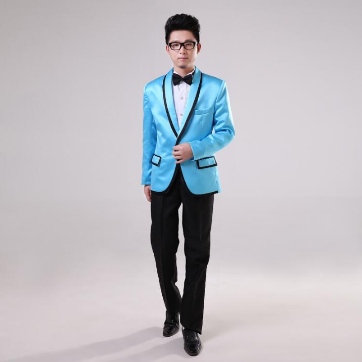 HOT Gangnam Style Bird Tertiary The Same Singer Upscale Satin Suit Riding Dance Costumes Clothing Coat (Jacket + Pants + Tie)