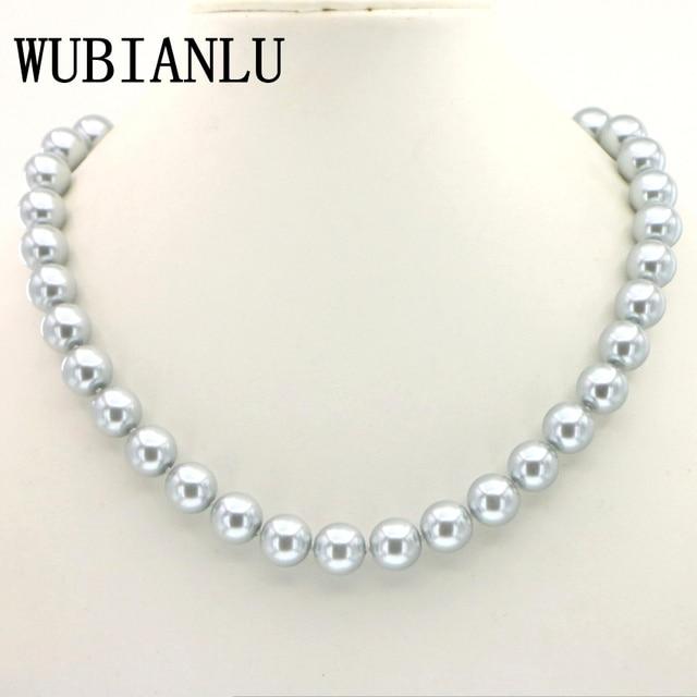 3c528127d5c2 14 colores 12mm gris collar de perlas de cristal 45 cm moda Choker collares  para mujer