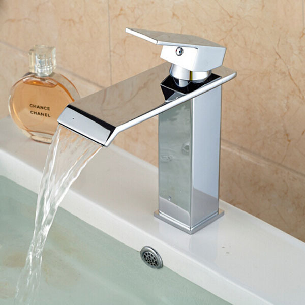 ФОТО Chrome Brass Bathroom Basin Faucet Waterfall Square Shape Vanity Sink Mixer Tap