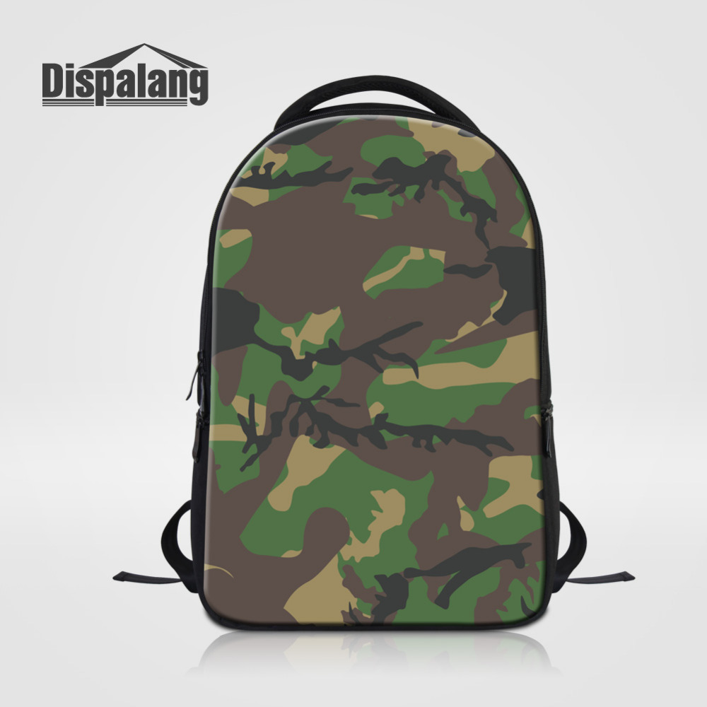 Dispalang Laptop Backpack For Men Green Camo Print School Bag For Teenagers Travel Bag Oxford Business Notebook Backpack Mochila 14 15 15 6 inch flax linen laptop notebook backpack bags case school backpack for travel shopping climbing men women