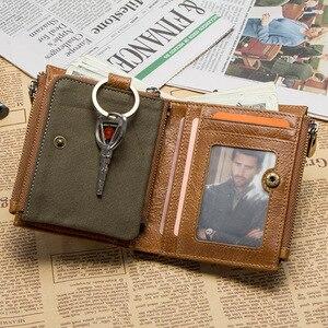 Image 3 - 연락처 정품 가죽 RFID 남자 지갑 신용 카드 소지자 지갑 동전 주머니 키 남자 체인 walet 남성 걸쇠 지갑