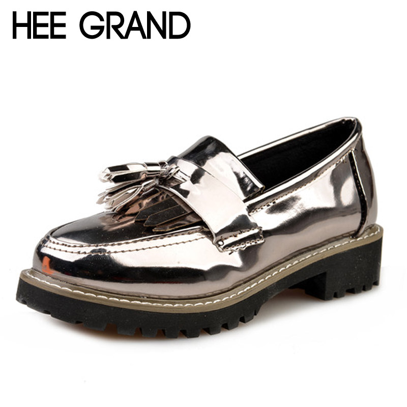 HEE GRAND Tassel Oxfords 2017 Bling Platform Shoes Woman Loafers Casual Creepers Slip On High Heels Silver Women Shoes XWD5207 phyanic crystal shoes woman 2017 bling gladiator sandals casual creepers slip on flats beach platform women shoes phy4041