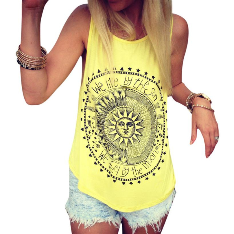 2018 High Quality Summer Tank Top For Women Camisole Cotton Slim Ladies Casual Vest sunflower Print Sexy Women Tops #JTW0
