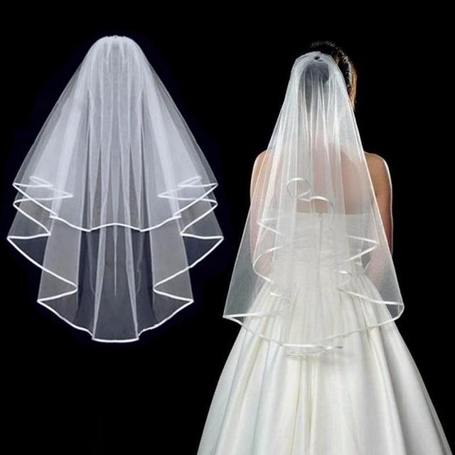 Simple Short Tulle Wedding Veils Two Layer With Comb White Ivory Bridal Veil for Bride for Marriage Wedding Accessories 1