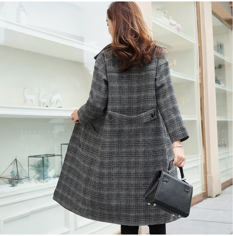 Winter Check Velvet Coat Female Notched Warm checkered Woolen Women's Coats Fleece Office Lady 19 Vintage Long Overcoat Woman 11
