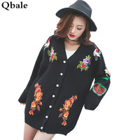 Qbale Runway Style Flowers Birds Heavey Embroidery Sweater Cardigans Women Spring Autumn Fashion Knitted Black Long