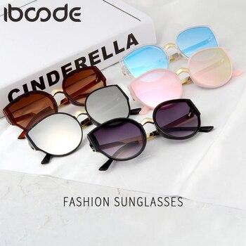 ccc085cbea Iboode redonda de Metal Marco de gafas de sol gafas Retro Vintage niños  espejo UV400 lente lindo niños niñas gafas de sol