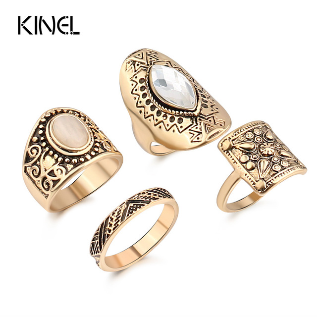 2017 Fashion Ancient gold Color Midi Rings 4pcs/Sets 7 Color Fantasy Resin Bohem