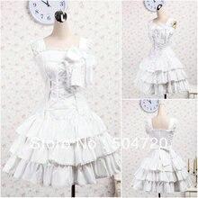 V-1231 Weiß baumwolle Süße Schule Lolita Kleid/viktorianischen kleid Cocktailkleid/halloween-kostüm US6-26 XS-6XL