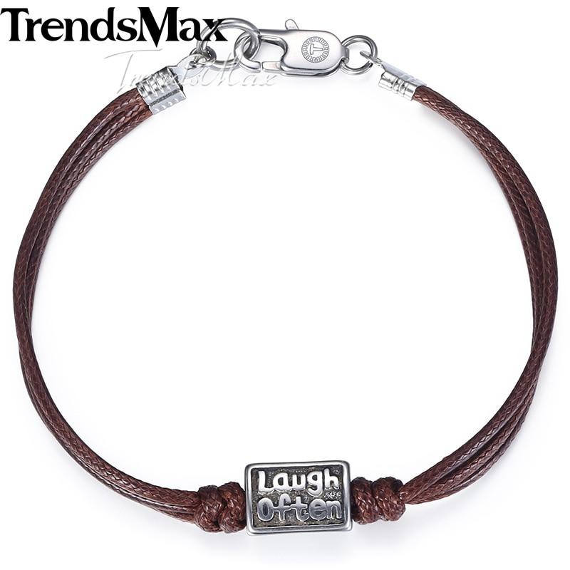 How Much Are Charm Bracelets: Trendsmax Handmade Leather Bracelet For Men Laugh Often