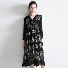 PIXY Summer Heavy Silk Dress Women V Neck Lace Embroidery Black Mesh Print Midi Dresses Casual Floral Ladies sukienka za vestido