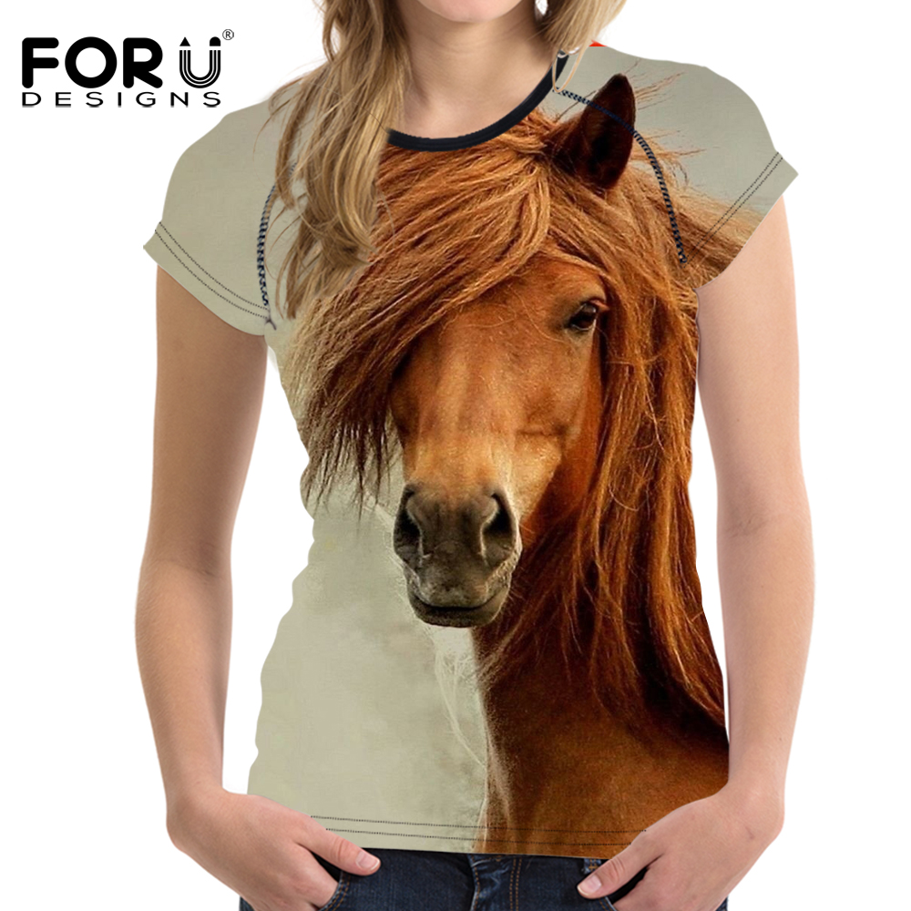 FORUDESIGNS Vintage Women Summer Basic T Shirt 3D Horse Animal Woman Tops Casual Short Sleeved Female Shirts For Girls Feminine