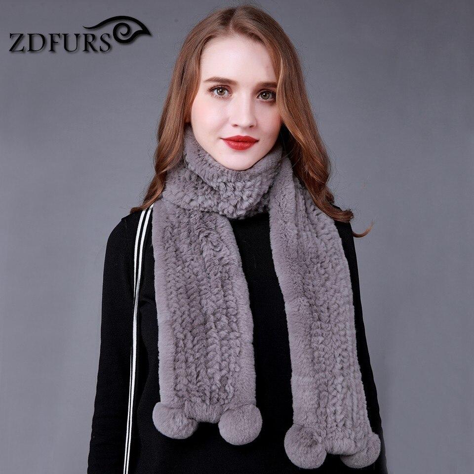 ZDFURS * New  high quality real women Rex rabbit fur scarf Natural Rabbit Fur Scarves long scarf warm fur muffler