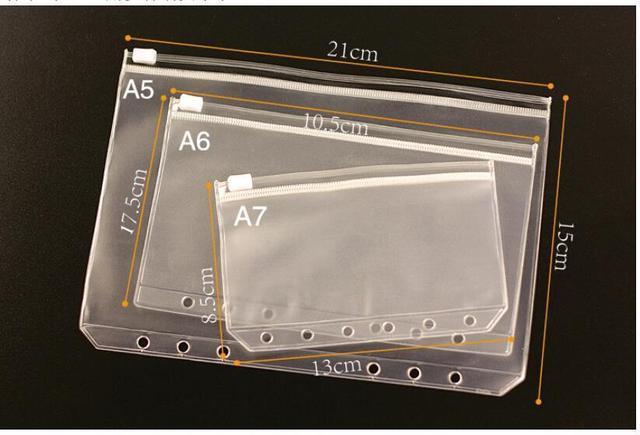 1PCS Transparent PVC Storage Bag Card Holder Bag PVC Presentation Binder Folder Zipper Receive Bag 3 Sizes A5 / A6 / A7
