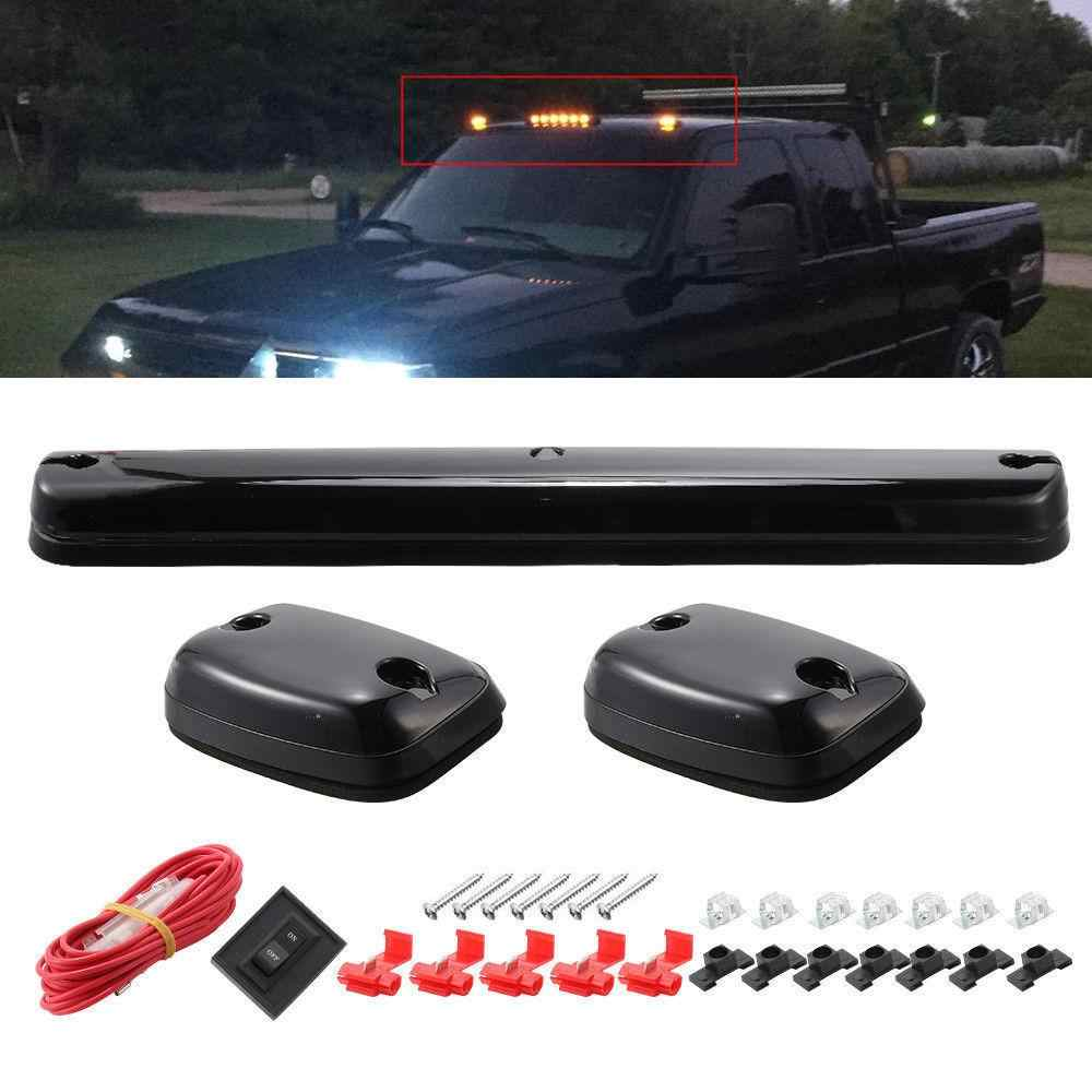 3PC Smoke Cab Roof Running Amber Side mClearance Dome LED Lights For Chevy Silverado For GMC Sierra  07-13