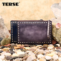TERSE_vintage stylish women calf leather Rivet bag for men in blue and purple one stop service trendy style high quality handbag