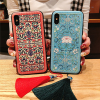 Chinese Style Phone Case For iPhone 6 6S 7 8 Plus Relief Flower Back Cover For iPhone 6 7 8 Plus X Capa For iPhone 6 7 8 X Case