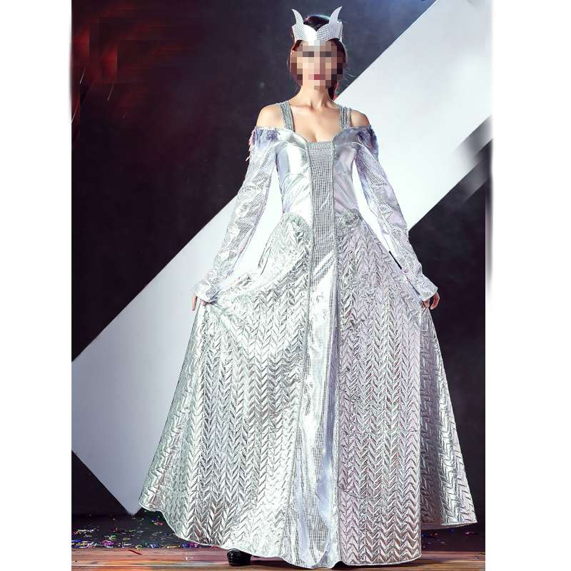 Newest Deluxe Sliver Winter War Ice Queen Costumes Egyptian Cleopatra Costume Sexy Greek Goddess Costumes Adult Fancy Costumes