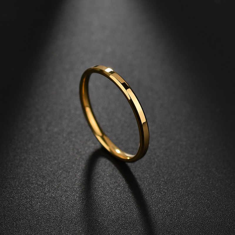 ELSEMODE 2mm Thép Titan Vàng Chống dị ứng Mịn Cưới, Cặp Đôi Nhẫn Cho Nữ Cô Gái Món Quà Trang Sức