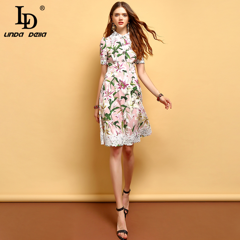 LD LINDA DELLA 2019 Fashion Summer Dress Women s Short Sleeve Lace Floral Printed Elegant Vintage