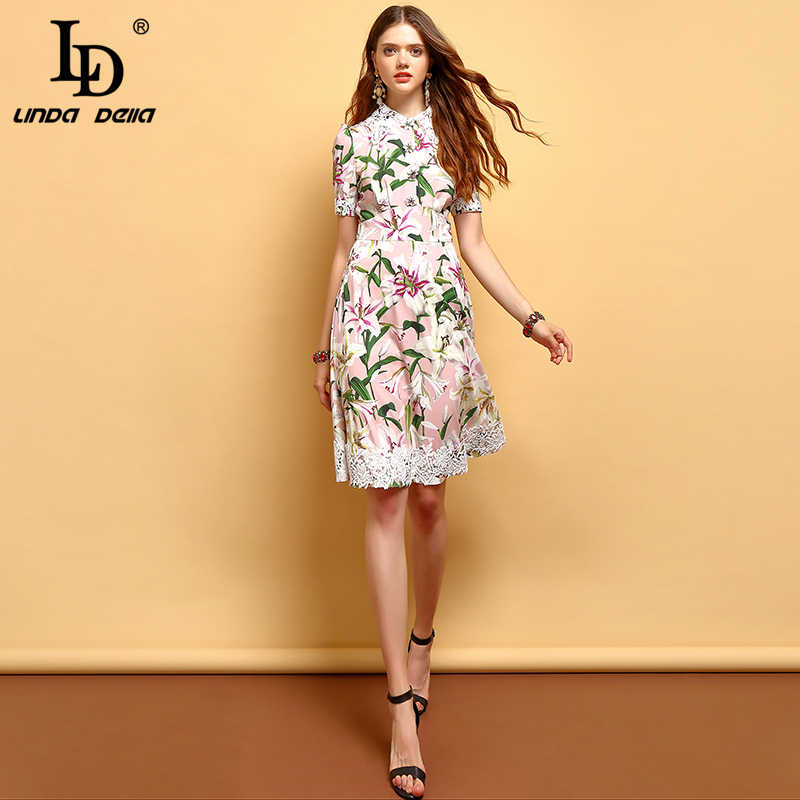 LD LINDA DELLA 2019 Fashion Summer Dress Women's Short Sleeve Lace Floral Printed Elegant Vintage Vacation Collect waist Dresses