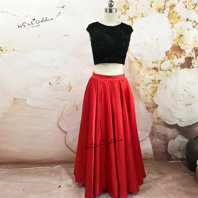 Online Shop Vestidos de Renda 2 Piece Prom Dresses Long Elegant Red ...