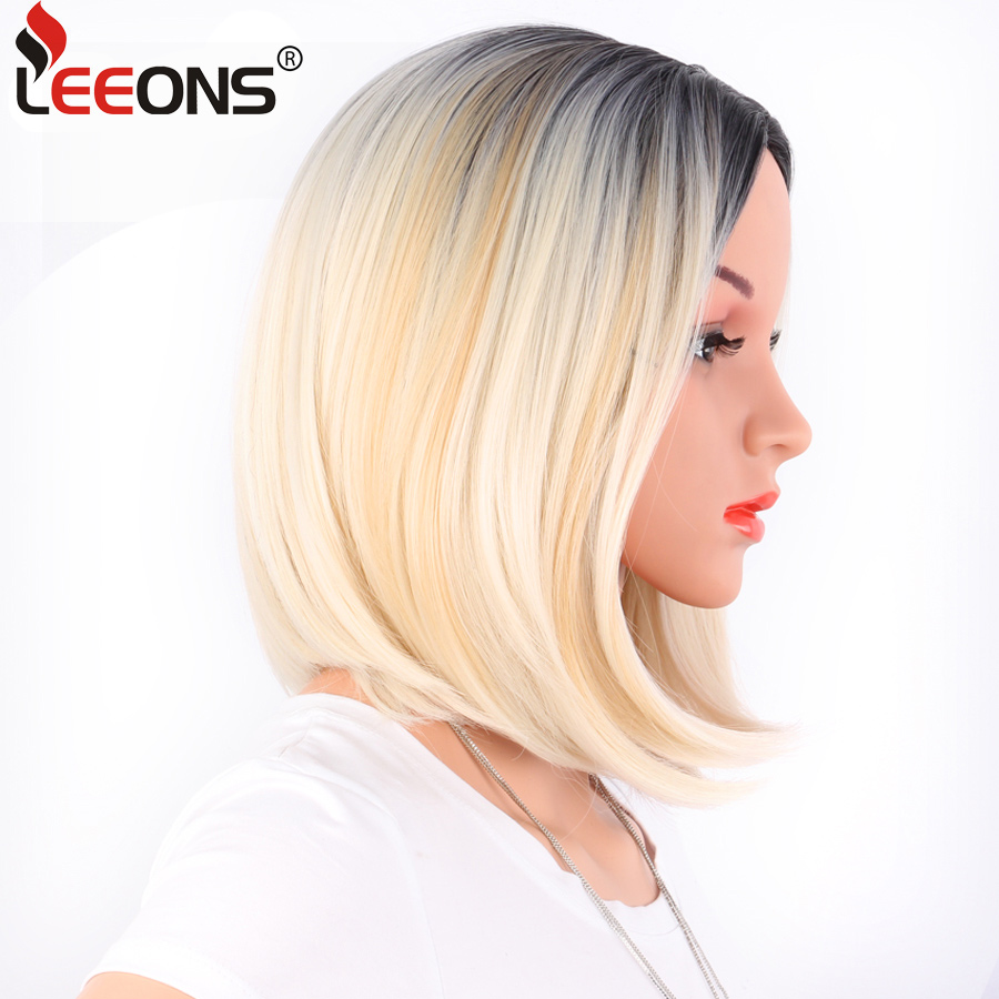 Leeons African American Bob Wigs Short Straight Wigs For Women Wig Shoulder Length Heat Resistant Synthetic Black Brown Hair